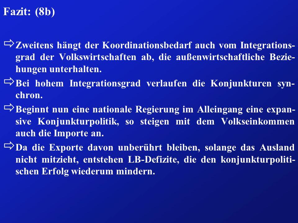 Fazit: (8b) ð Zweitens hängt der Koordinationsbedarf auch vom Integrations- grad der Volkswirtschaften ab, die außenwirtschaftliche Bezie- hungen unte