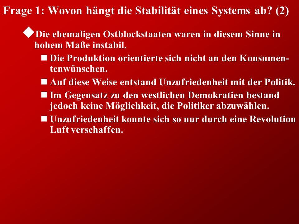 Frage 1: Wovon hängt die Stabilität eines Systems ab.
