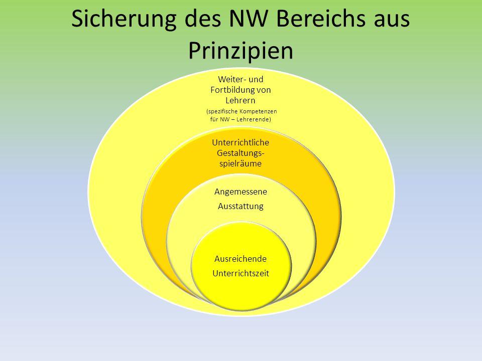 Sicherung des NW Bereichs aus Prinzipien Weiter- und Fortbildung von Lehrern (spezifische Kompetenzen für NW – Lehrerende) Unterrichtliche Gestaltungs