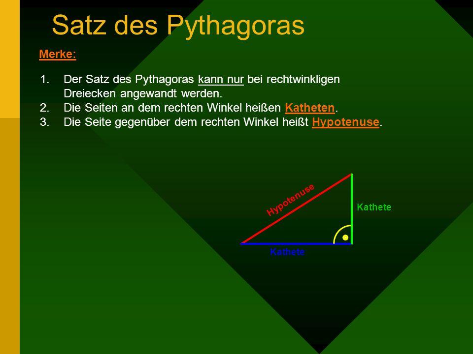 Satz des Pythagoras Für den Kurs 9E Mathematik Copyright 1996-2001 ©