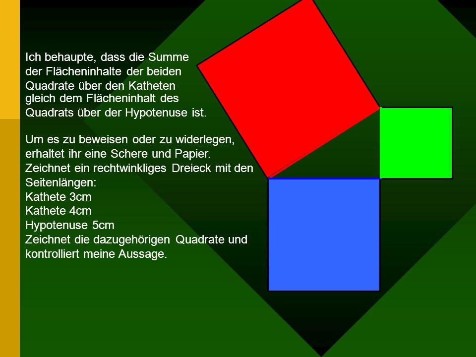Satz des Pythagoras 1.Der Satz des Pythagoras kann nur bei rechtwinkligen Dreiecken angewandt werden. 2.Die Seiten an dem rechten Winkel heißen Kathet