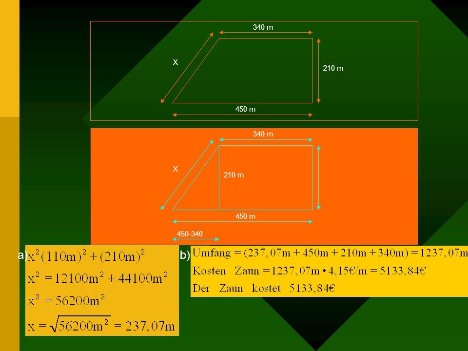Aufgabe 1) Bauer Meier muss sein Weidegrundstück neu einzäunen. Ihm fehlt zur Berechnung des Weidezaunes nur noch die Länge des Abschnitts x (siehe Sk