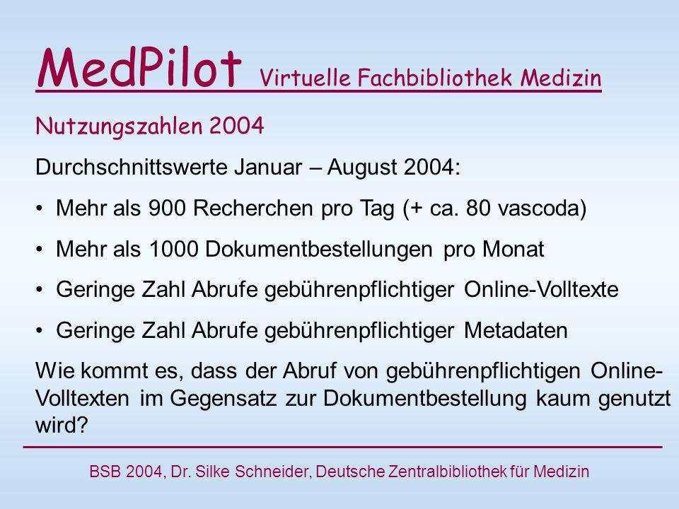 MedPilot Virtuelle Fachbibliothek Medizin Nutzungszahlen 2004 Durchschnittswerte Januar – August 2004: Mehr als 900 Recherchen pro Tag (+ ca.