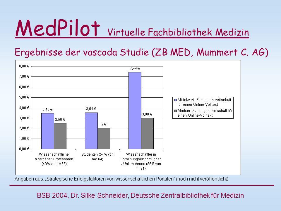 MedPilot Virtuelle Fachbibliothek Medizin Ergebnisse der vascoda Studie (ZB MED, Mummert C.