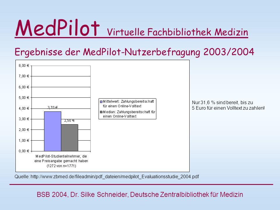 MedPilot Virtuelle Fachbibliothek Medizin Ergebnisse der MedPilot-Nutzerbefragung 2003/2004 Quelle: http://www.zbmed.de/fileadmin/pdf_dateien/medpilot_Evaluationsstudie_2004.pdf BSB 2004, Dr.