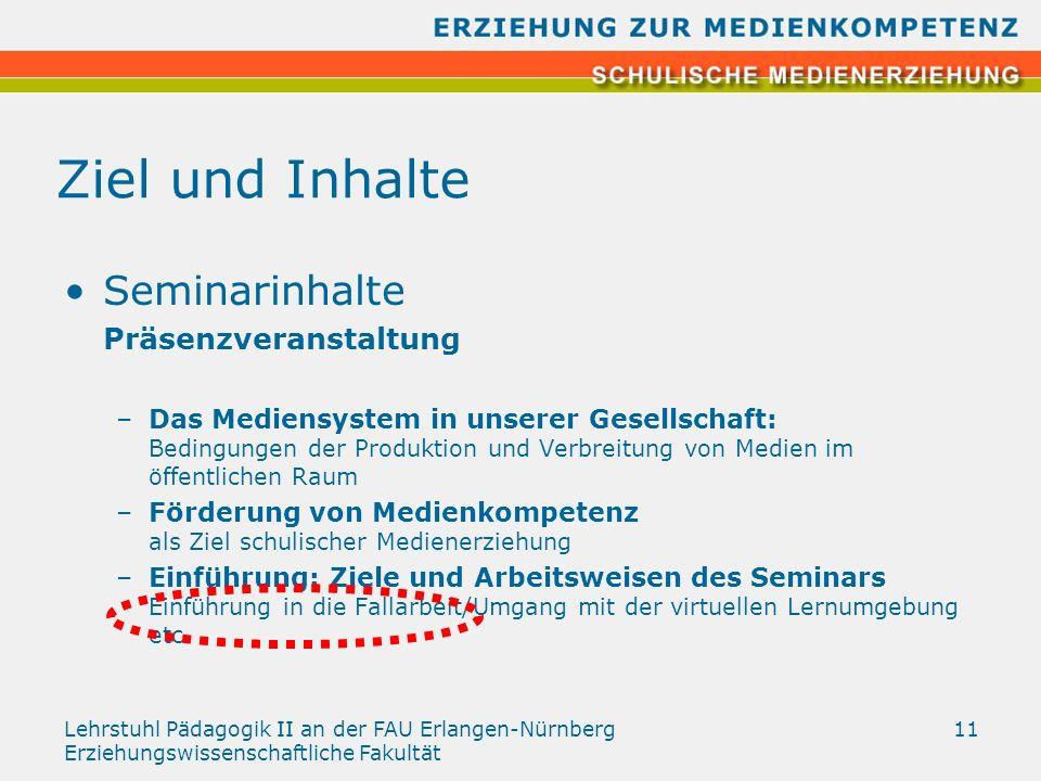 Lehrstuhl Pädagogik II an der FAU Erlangen-Nürnberg Erziehungswissenschaftliche Fakultät 11 Ziel und Inhalte Seminarinhalte Präsenzveranstaltung –Das
