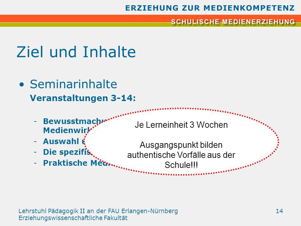 Lehrstuhl Pädagogik II an der FAU Erlangen-Nürnberg Erziehungswissenschaftliche Fakultät 14 Ziel und Inhalte Seminarinhalte Veranstaltungen 3-14: -Bew