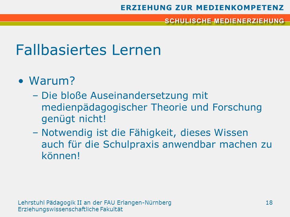 Lehrstuhl Pädagogik II an der FAU Erlangen-Nürnberg Erziehungswissenschaftliche Fakultät 18 Fallbasiertes Lernen Warum? –Die bloße Auseinandersetzung