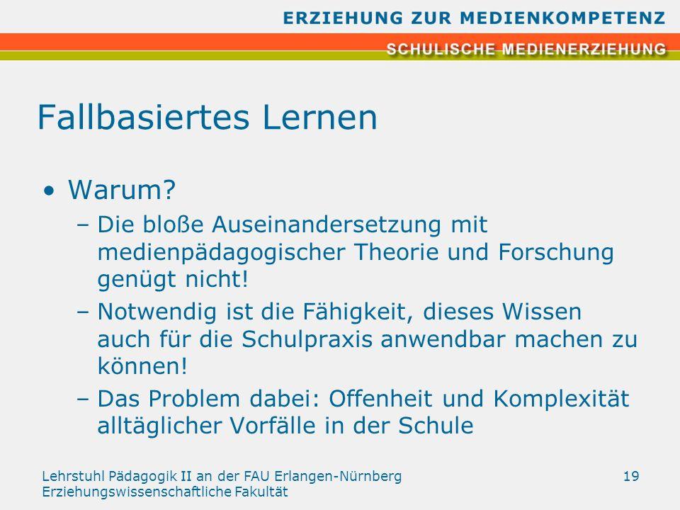 Lehrstuhl Pädagogik II an der FAU Erlangen-Nürnberg Erziehungswissenschaftliche Fakultät 19 Fallbasiertes Lernen Warum? –Die bloße Auseinandersetzung