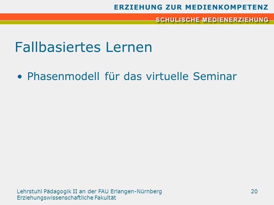 Lehrstuhl Pädagogik II an der FAU Erlangen-Nürnberg Erziehungswissenschaftliche Fakultät 20 Fallbasiertes Lernen Phasenmodell für das virtuelle Semina