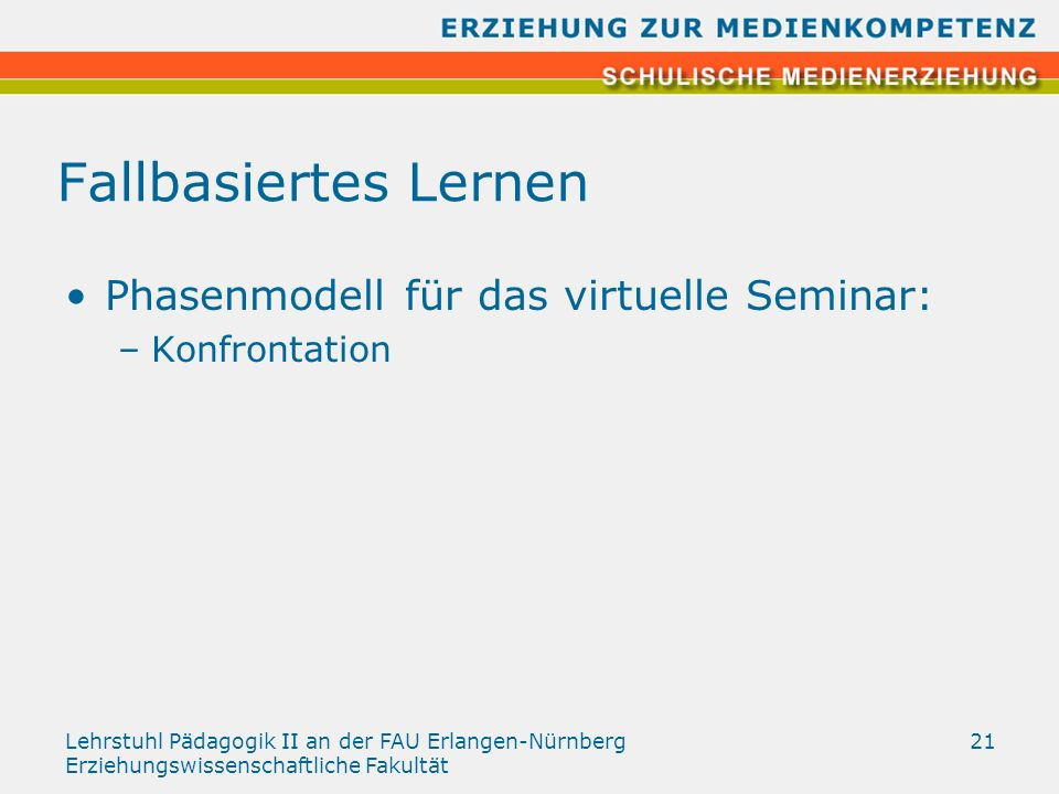 Lehrstuhl Pädagogik II an der FAU Erlangen-Nürnberg Erziehungswissenschaftliche Fakultät 21 Fallbasiertes Lernen Phasenmodell für das virtuelle Semina