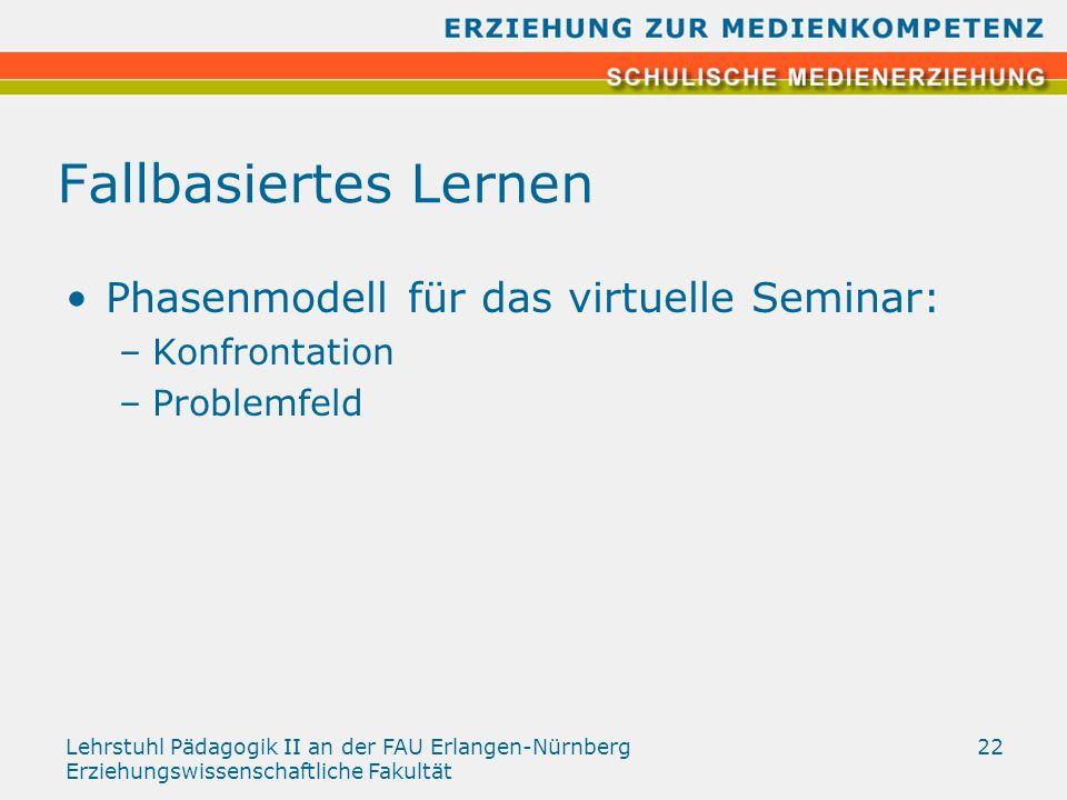Lehrstuhl Pädagogik II an der FAU Erlangen-Nürnberg Erziehungswissenschaftliche Fakultät 22 Fallbasiertes Lernen Phasenmodell für das virtuelle Semina