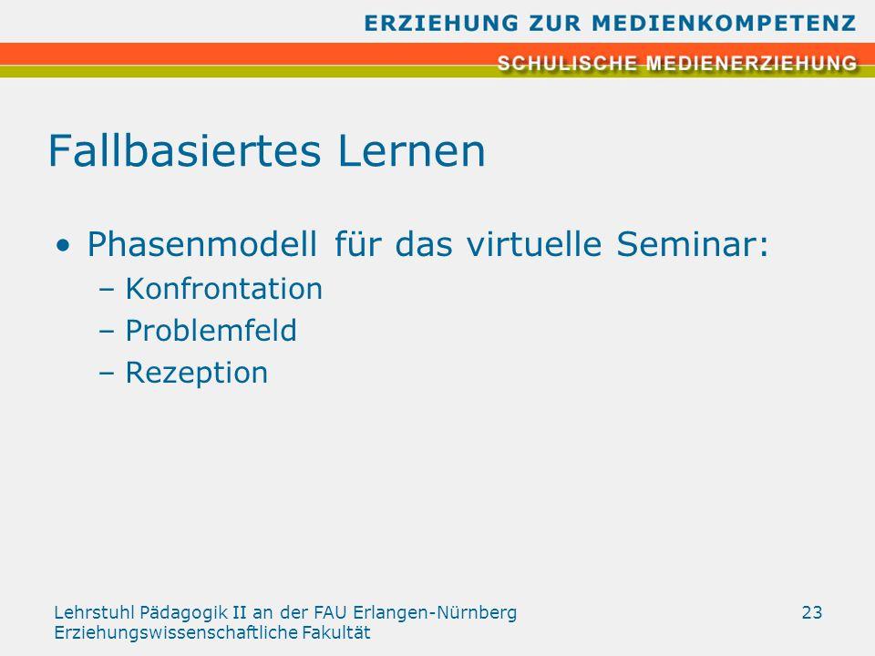 Lehrstuhl Pädagogik II an der FAU Erlangen-Nürnberg Erziehungswissenschaftliche Fakultät 23 Fallbasiertes Lernen Phasenmodell für das virtuelle Semina