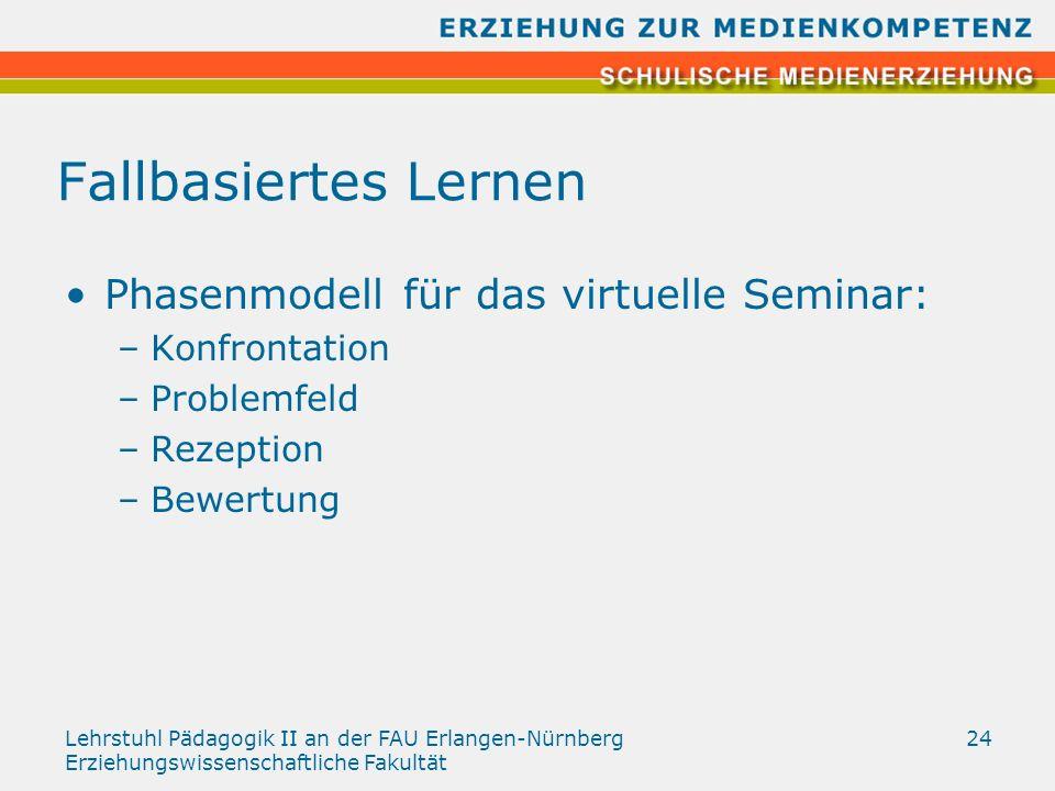 Lehrstuhl Pädagogik II an der FAU Erlangen-Nürnberg Erziehungswissenschaftliche Fakultät 24 Fallbasiertes Lernen Phasenmodell für das virtuelle Semina