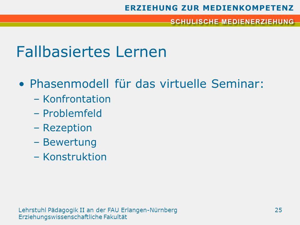 Lehrstuhl Pädagogik II an der FAU Erlangen-Nürnberg Erziehungswissenschaftliche Fakultät 25 Fallbasiertes Lernen Phasenmodell für das virtuelle Semina