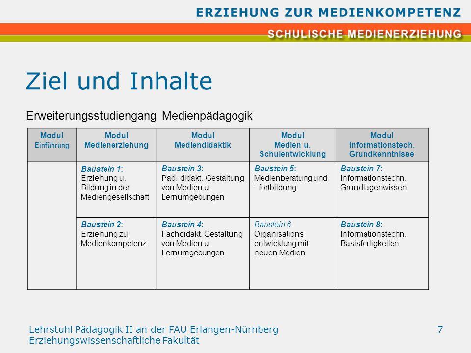 Lehrstuhl Pädagogik II an der FAU Erlangen-Nürnberg Erziehungswissenschaftliche Fakultät 7 Ziel und Inhalte Modul Einführung Modul Medienerziehung Mod