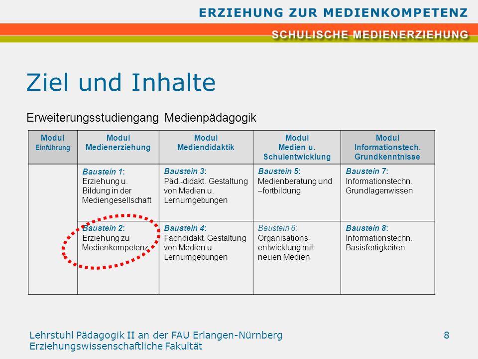 Lehrstuhl Pädagogik II an der FAU Erlangen-Nürnberg Erziehungswissenschaftliche Fakultät 8 Ziel und Inhalte Modul Einführung Modul Medienerziehung Mod