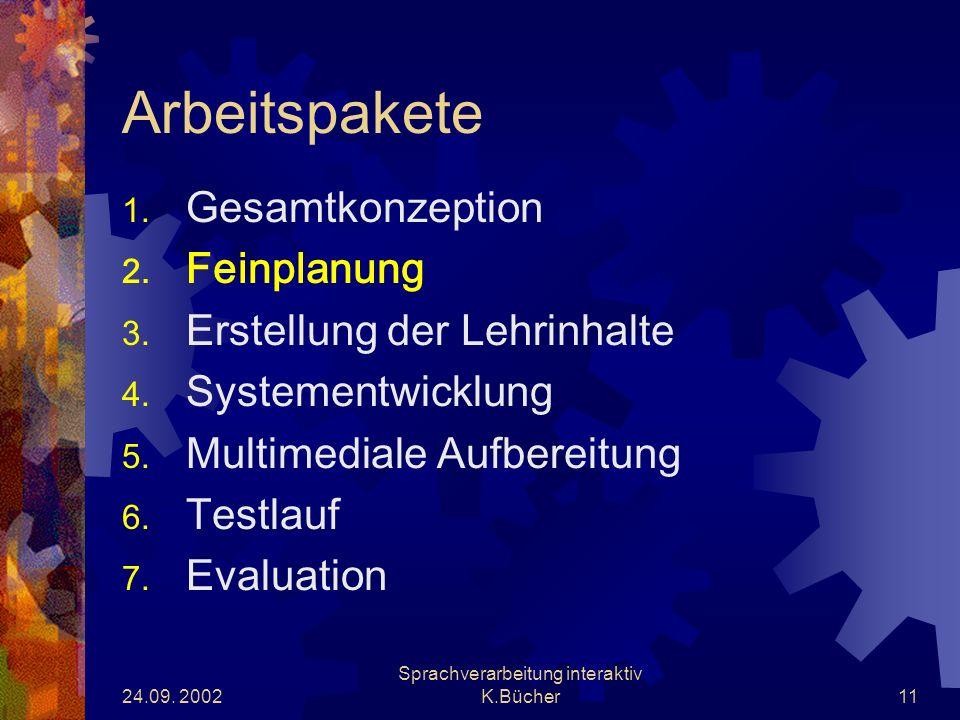 24.09. 2002 Sprachverarbeitung interaktiv K.Bücher11 Arbeitspakete 1.
