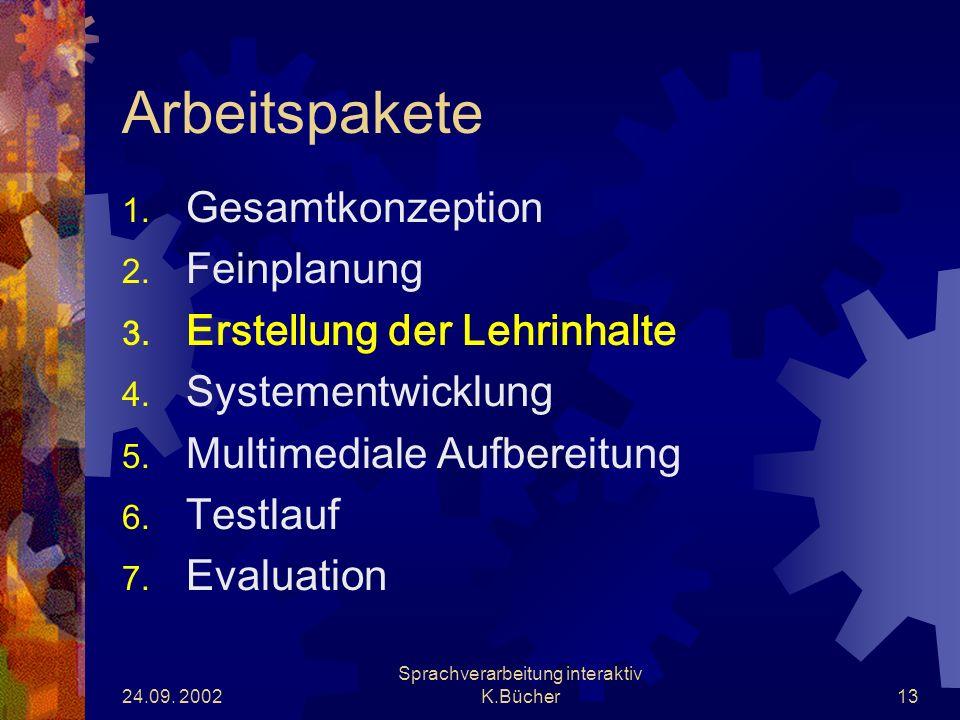 24.09. 2002 Sprachverarbeitung interaktiv K.Bücher13 Arbeitspakete 1.