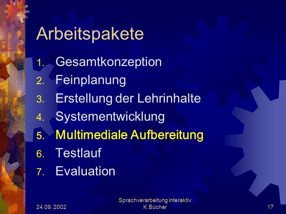 24.09. 2002 Sprachverarbeitung interaktiv K.Bücher17 Arbeitspakete 1.