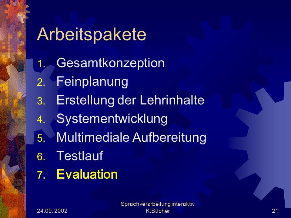 24.09. 2002 Sprachverarbeitung interaktiv K.Bücher21 Arbeitspakete 1.