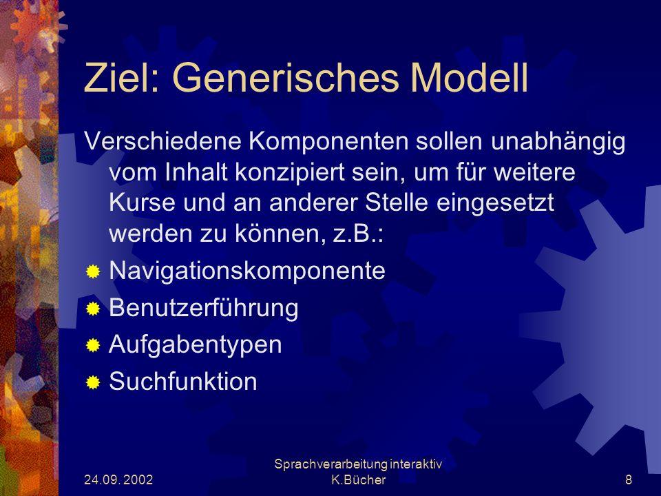 24.09.2002 Sprachverarbeitung interaktiv K.Bücher9 Arbeitspakete 1.