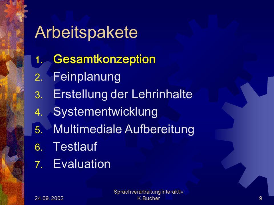 24.09. 2002 Sprachverarbeitung interaktiv K.Bücher9 Arbeitspakete 1.