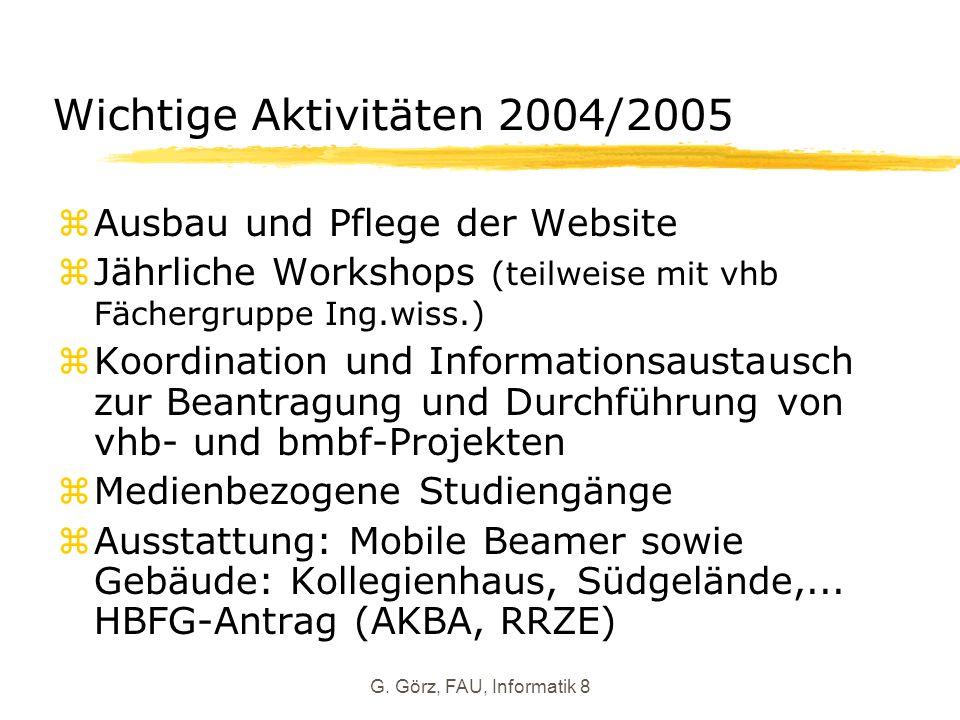 G. Görz, FAU, Informatik 8 Wichtige Aktivitäten 2004/2005 zAusbau und Pflege der Website zJährliche Workshops (teilweise mit vhb Fächergruppe Ing.wiss