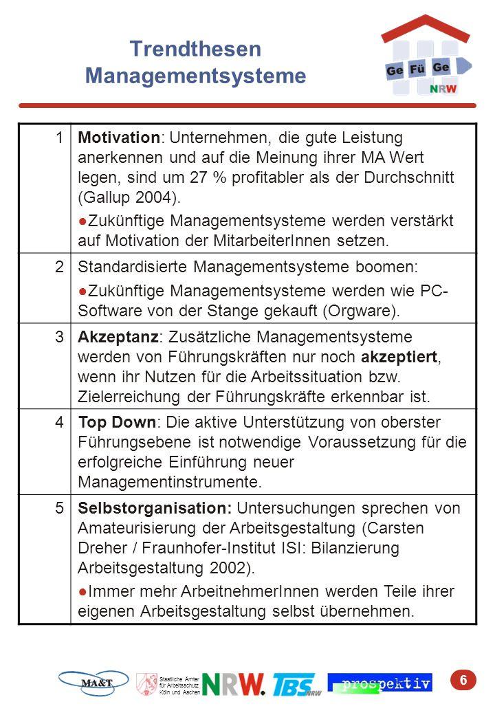 6 Staatliche Ämter für Arbeitsschutz Köln und Aachen Trendthesen Managementsysteme 1Motivation: Unternehmen, die gute Leistung anerkennen und auf die