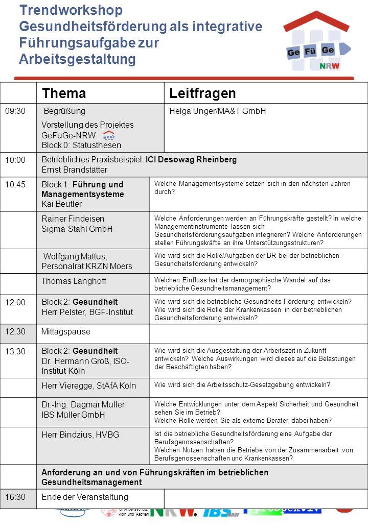 7 Staatliche Ämter für Arbeitsschutz Köln und Aachen Trendworkshop Gesundheitsförderung als integrative Führungsaufgabe zur Arbeitsgestaltung ThemaLei