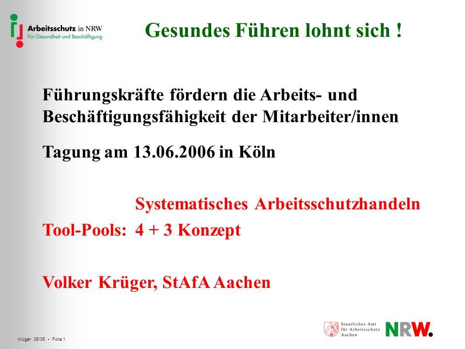 Krüger 06/06 Folie 1 Gesundes Führen lohnt sich ! Führungskräfte fördern die Arbeits- und Beschäftigungsfähigkeit der Mitarbeiter/innen Tagung am 13.0