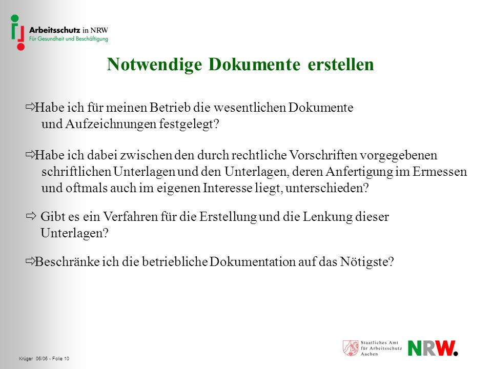 Krüger 06/06 - Folie 10 Notwendige Dokumente erstellen Habe ich für meinen Betrieb die wesentlichen Dokumente und Aufzeichnungen festgelegt? Habe ich