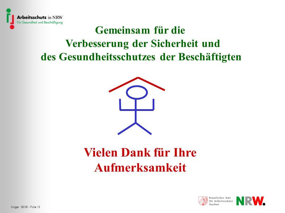 Krüger 06/06 - Folie 13 Vielen Dank für Ihre Aufmerksamkeit Gemeinsam für die Verbesserung der Sicherheit und des Gesundheitsschutzes der Beschäftigte