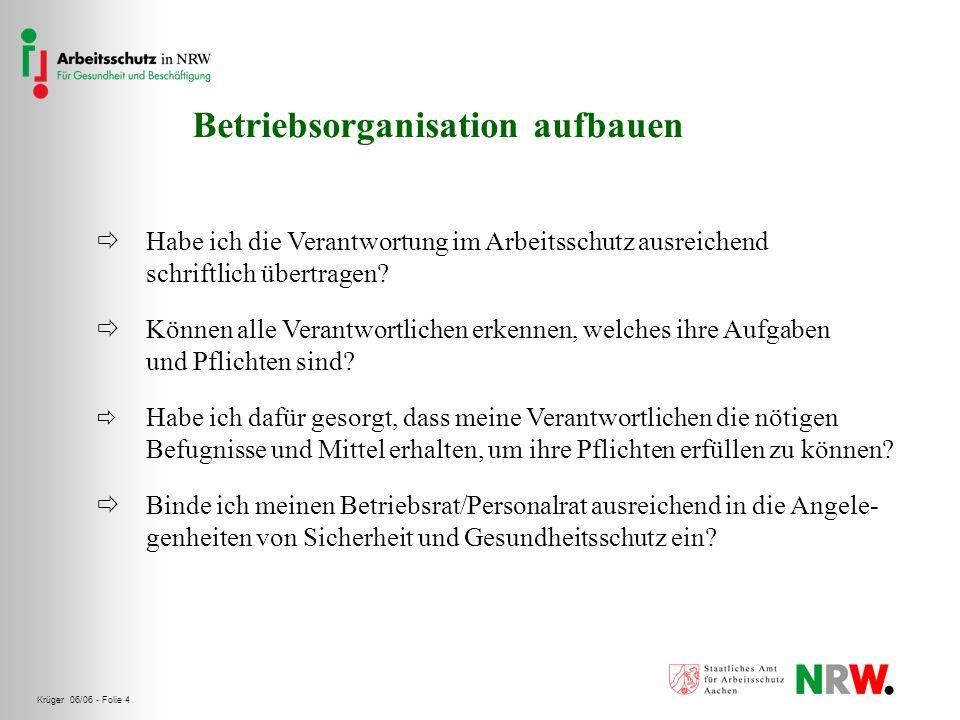 Krüger 06/06 - Folie 4 Betriebsorganisation aufbauen Habe ich die Verantwortung im Arbeitsschutz ausreichend schriftlich übertragen? Können alle Veran