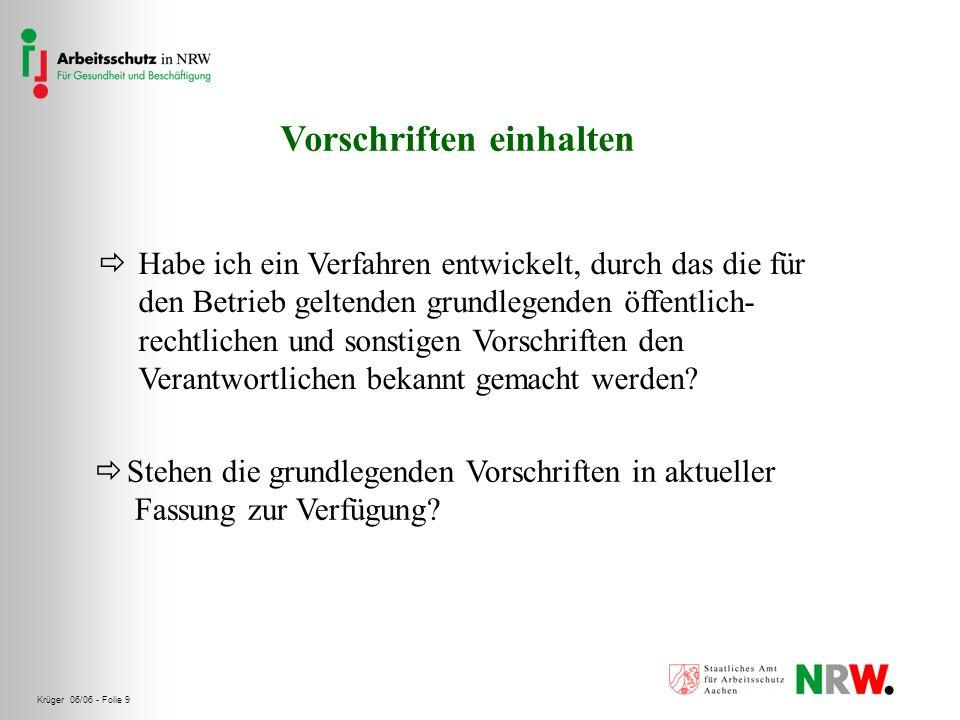 Krüger 06/06 - Folie 10 Notwendige Dokumente erstellen Habe ich für meinen Betrieb die wesentlichen Dokumente und Aufzeichnungen festgelegt.
