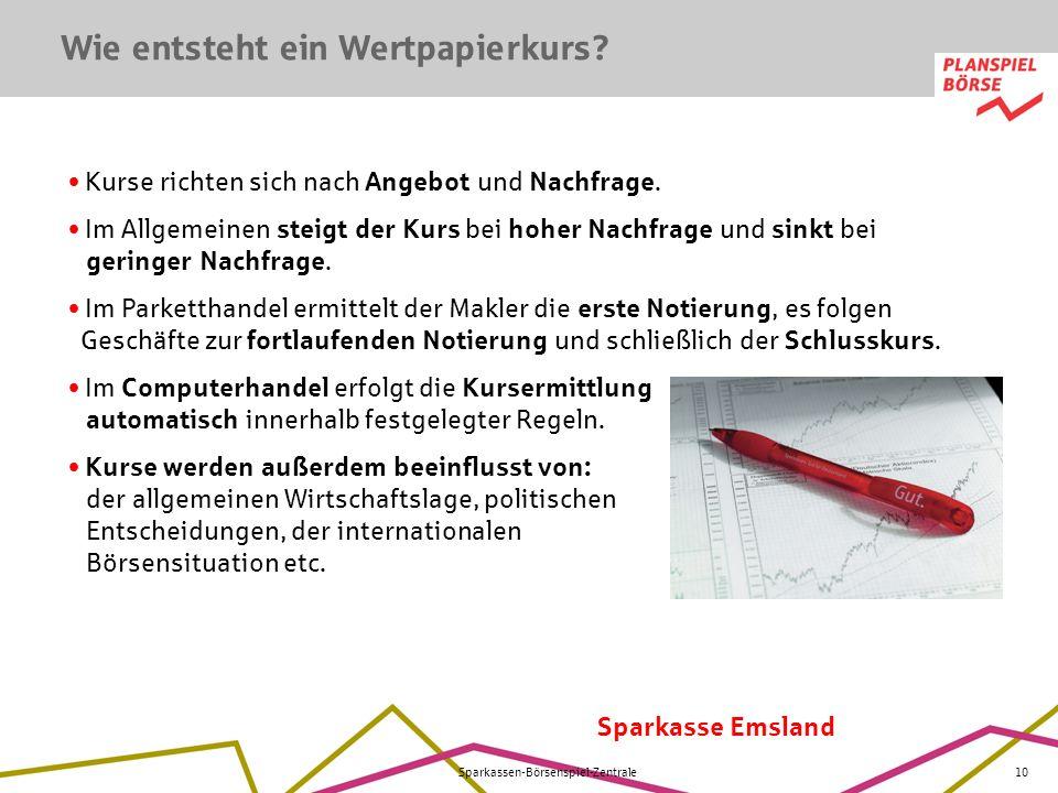 Sparkasse Emsland Sparkassen-Börsenspiel-Zentrale10 Kurse richten sich nach Angebot und Nachfrage. Im Allgemeinen steigt der Kurs bei hoher Nachfrage