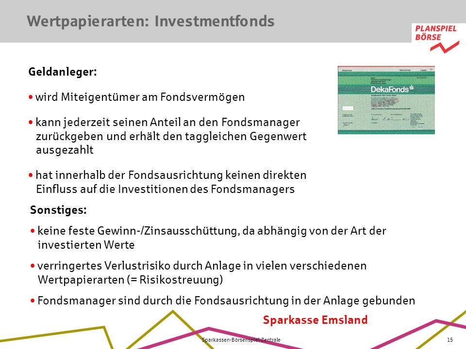 Sparkasse Emsland Sparkassen-Börsenspiel-Zentrale15 Wertpapierarten: Investmentfonds Geldanleger: wird Miteigentümer am Fondsvermögen kann jederzeit s