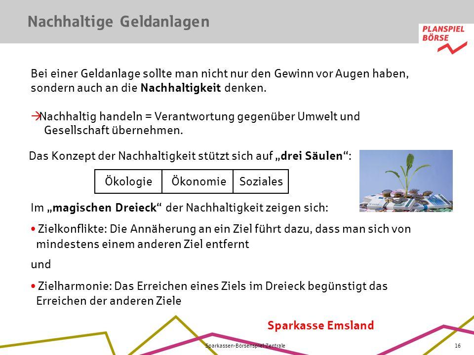 Sparkasse Emsland Sparkassen-Börsenspiel-Zentrale16 Nachhaltige Geldanlagen Das Konzept der Nachhaltigkeit stützt sich auf drei Säulen : Ökologie Ökon