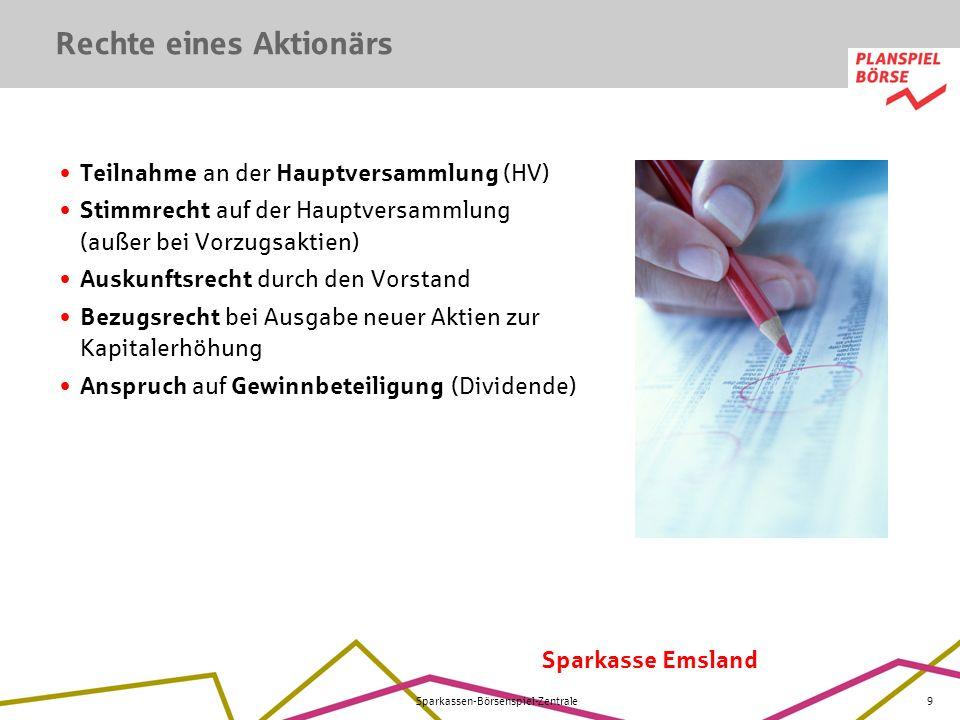 Sparkasse Emsland Sparkassen-Börsenspiel-Zentrale9 Teilnahme an der Hauptversammlung (HV) Stimmrecht auf der Hauptversammlung (außer bei Vorzugsaktien