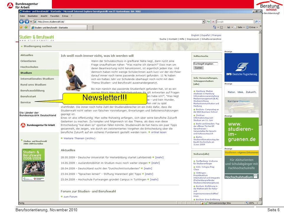 Seite 7 Berufsorientierung, November 2010 Newsletter!!!