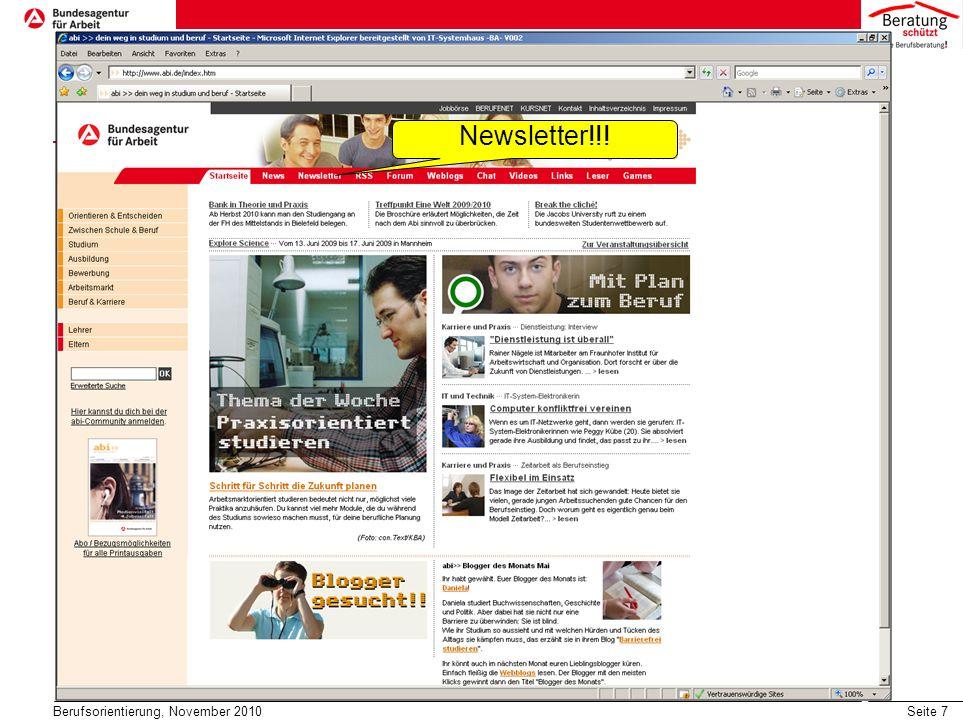 Seite 8 Tipps und Hilfen im Internet Berufsorientierung, November 2010 Studien- und Berufswahl www.abi.de www.studienwahl.de www.planet-berufe.de www.derberufsberater.de www.wege-ins-studium-de Studiengänge recherchieren www.studienwahl.de www.hochschulkompass.de www.ausbildung-plus.de www.hochschulstart.de www.fachhochschule.de www.studieren-in-niedersachsen.de Ausbildungsberufe www.berufenet.arbeitsagentur.de www.bibb.de Sonstiges www.studis-online.de www.bafoeg.bmbf.de www.che-concept.de Studieren im Ausland www.wege-ins-Ausland.de www.daad.de www.studieren-in-holland.de www.efors.eu/studieren-in-europa/ www.go-out.de www.europaserviceba.de Überbrückung/Auslandsaufenthalt www.weltwaerts.de www.rausvonzuhaus.de www.guetegemeinschaft-aupair.de www.bmfsfj.dewww.bmfsfj.de, www.fsjkultur.dewww.fsjkultur.de www.pro-fsj.dewww.pro-fsj.de, www.dsj.de, ww.foej.dewww.dsj.deww.foej.de www.praktika.dewww.praktika.de, www.zivi.orgwww.zivi.org Eignungstests www.was-soll-ich-werden.de www.explorix.de www.borakel.de www.bildung.koeln.de www.assess.rwth-aachen.de www.was-studiere-ich.de