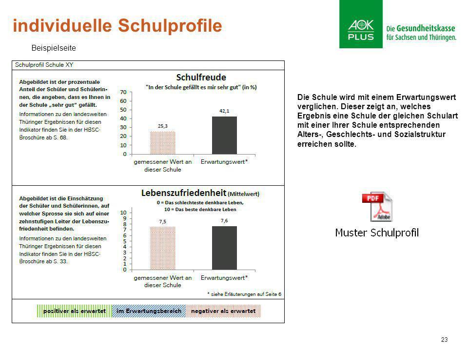 23 individuelle Schulprofile Die Schule wird mit einem Erwartungswert verglichen. Dieser zeigt an, welches Ergebnis eine Schule der gleichen Schulart