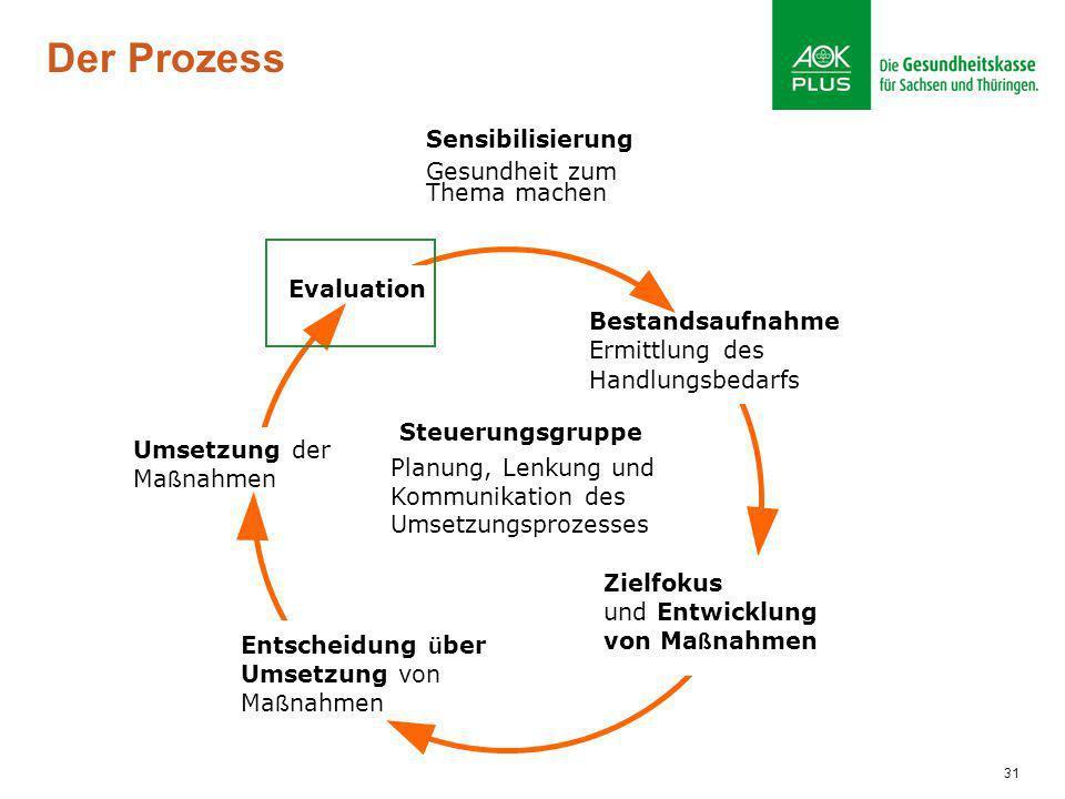 31 Der Prozess Bestandsaufnahme Ermittlung des Handlungsbedarfs Zielfokus und Entwicklung von Ma ß nahmen Entscheidung ü ber Umsetzung von Ma ß nahmen
