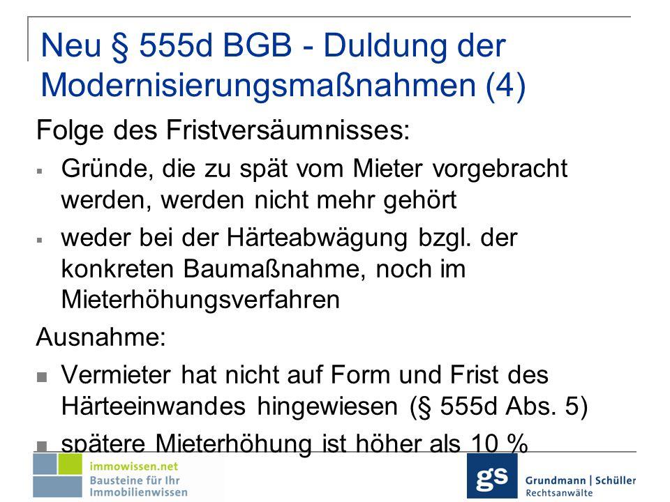Neu § 559 BGB - Mieterhöhung Jährliche Erhöhung um 11 % der aufgewendeten Kosten für die Wohnung zum Beginn d.