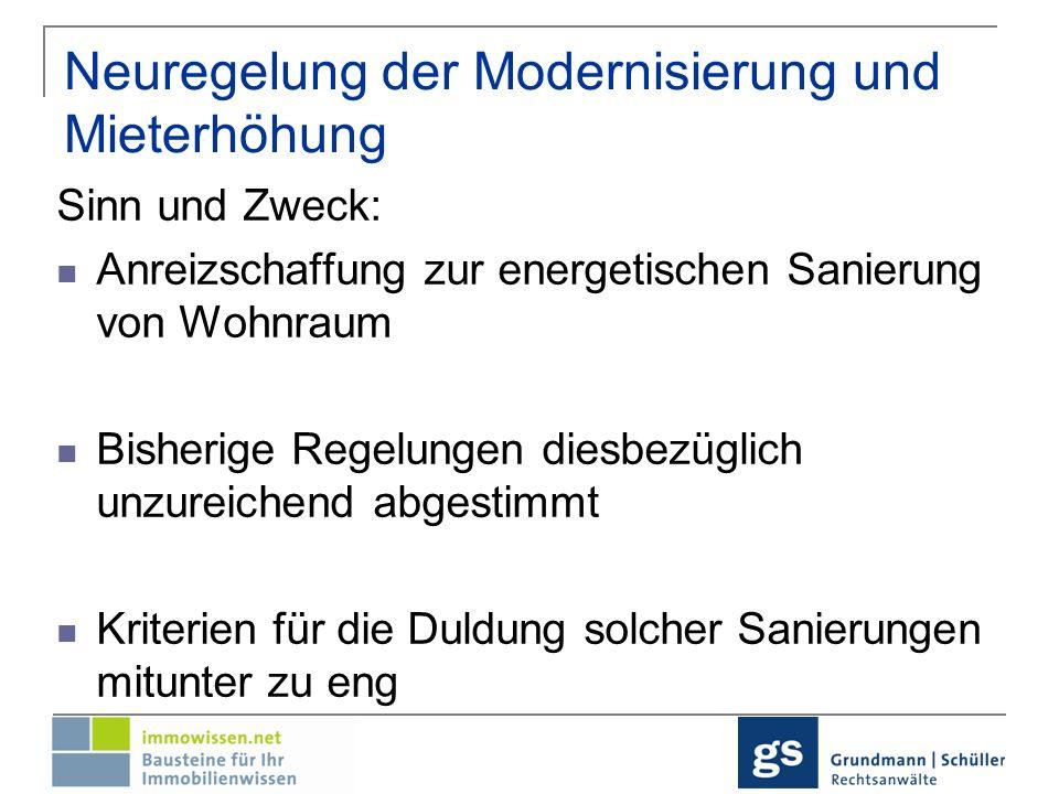 Neuregelung der Modernisierung und der Mieterhöhung aufgrund der Modernisierung