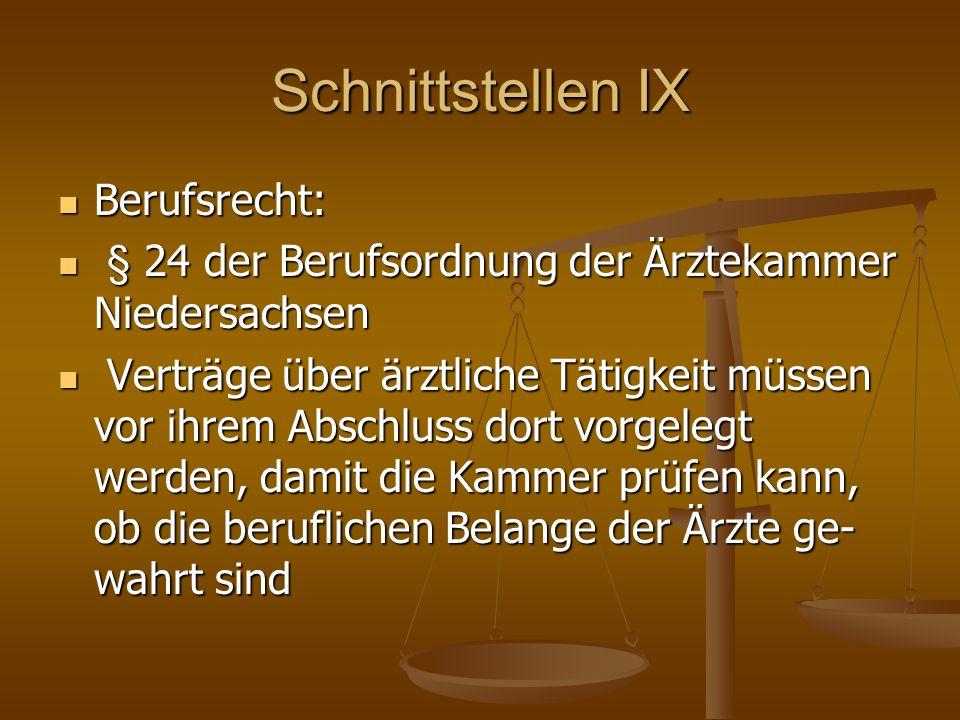 Schnittstellen IX Berufsrecht: Berufsrecht: § 24 der Berufsordnung der Ärztekammer Niedersachsen § 24 der Berufsordnung der Ärztekammer Niedersachsen