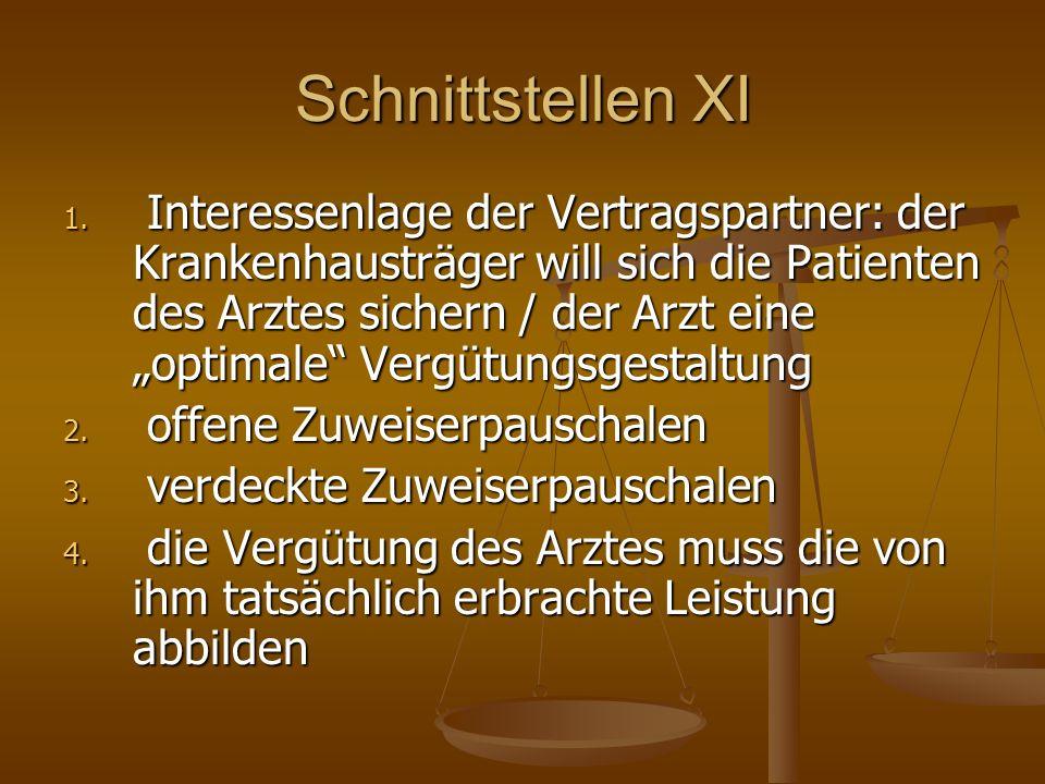 Schnittstellen XI 1. Interessenlage der Vertragspartner: der Krankenhausträger will sich die Patienten des Arztes sichern / der Arzt eine optimale Ver