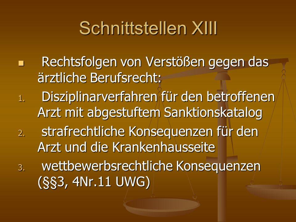Schnittstellen XIII Rechtsfolgen von Verstößen gegen das ärztliche Berufsrecht: Rechtsfolgen von Verstößen gegen das ärztliche Berufsrecht: 1.