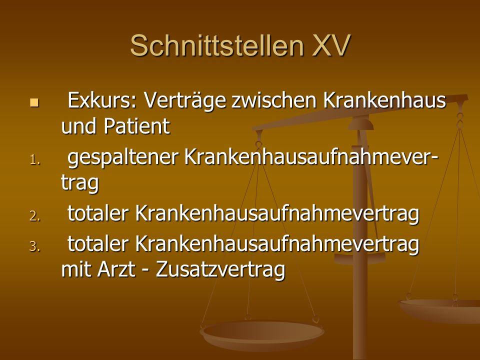 Schnittstellen XV Exkurs: Verträge zwischen Krankenhaus und Patient Exkurs: Verträge zwischen Krankenhaus und Patient 1. gespaltener Krankenhausaufnah