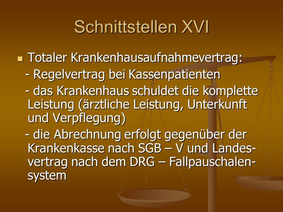 Schnittstellen XVI Totaler Krankenhausaufnahmevertrag: Totaler Krankenhausaufnahmevertrag: - Regelvertrag bei Kassenpatienten - Regelvertrag bei Kasse